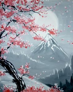 We host painting events at local bars. Come join us for a Paint Nite Party! Cherry Blossom Painting, Cherry Blossoms, Sakura Painting, Japan Painting, Art Sur Toile, Acrylic Painting Inspiration, Chinese Art, Japanese Art, Japanese Geisha