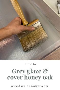 Staining Cabinets, Painting Kitchen Cabinets, How To Restain Cabinets, Painted Oak Cabinets, Restaining Kitchen Cabinets, Updating Oak Cabinets, Gray Stained Cabinets, Painted Hutch, Gray Cabinets