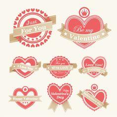 バレンタインデーのハート型ラベル Heart valentine labels vector イラスト素材