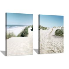 "LARGE CANVAS PICTURE SEASCAPE BEACH CREAM TONED 44/""x20/"""
