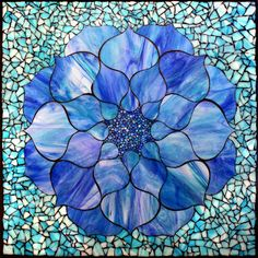"""Blue Lotus"" Stained glass mosaic, 22"" x 22"" Kasia Mosaics Online Store"