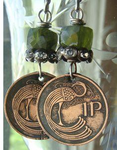 1971 VIntage Irish Coin Earrings Bronze Penny Bird by CobwebPalace