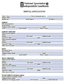 Printable Sample Rental Application Template Form  Real Estate