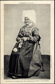 Coiffure et Costume des campagnardes Lochoises