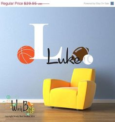 Personalized name basketball nba sports vinyl wall decal boys room monogram decal personalized boys nursery decor with sports theme baseball basketball football fun gift for kids negle Image collections