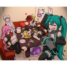 hatsune miku kagamine len kagamine rin kaito kamui gakupo karaoke... ❤ liked on Polyvore featuring anime