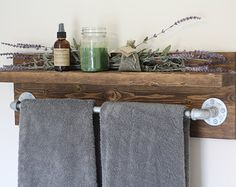 Small Rustic Towel Rack Bathroom Shelf Home Decor Wooden