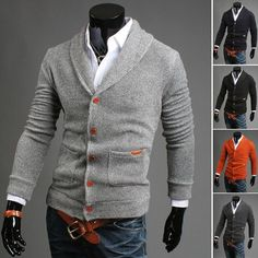 men single breasted cardigan sweater personality sweater V collar wholesale Casual Cardigan Men Sweaters Pattern Knitwear Male Sweaters, Casual Sweaters, Mens Knitted Cardigan, Men Sweater, Sweater Jacket, Men Cardigan, Cardigan Fashion, Moda Fitness, Mantel