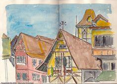 Arquitetura Alemã na clássica praça de Campos de Jordão. Parei com o meu caderno e fiquei por uma hora, curtindo o lugar e vendo as pessoas bonitas e desenhando.