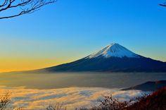 Sunrise from Mount Fuji, in Japan.