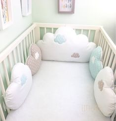 Baby cot bumpers, cloud cushions in taupe, celadon blue and white fabric Baby Bedroom, Baby Boy Rooms, Baby Boy Nurseries, Nursery Room, Baby Cot Bumper, Crib Bumpers, Cloud Cushion, Blue And White Fabric, Diy Bebe