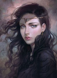 fantasy girl blue eyes long hair beautiful
