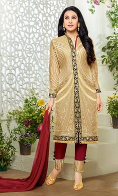 Beige Colored Radiant Embroidered Straight Cut Suit In Faux Georgette
