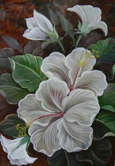 Abstract Tree Painting, Fabric Painting, Folk Art Flowers, Flower Art, Fabric Paint Designs, Hawaiian Art, Indian Folk Art, Watercolor Flowers, Painting Inspiration