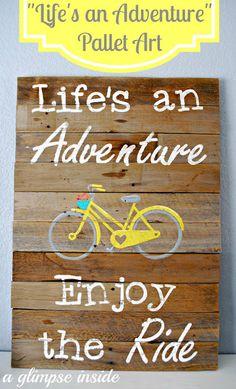 DIY Pallet sign Ideas -Life's an Adventure Pallet Sign - Upcycled Pallet Art… Pallet Crafts, Pallet Art, Pallet Signs, Wood Crafts, Diy Pallet, Pallett Ideas, Pallet Projects, Pallet Boards, Backyard Projects