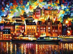 This is the best possible quality of recreation made by Leonid Afremov in person. The recreation is hand painted by Leonid Afremov using oil paint, canvas and palette knife. The certificate is signed by Leonid Afremov. Knife Painting, Oil Painting On Canvas, Painting Art, Oil Painting Reproductions, Palette Knife, Online Gallery, Pop Art, Original Paintings, Oil Paintings