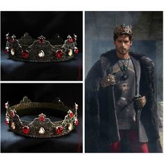 Mens Imperial Medieval Crown, Garnet Champagne Unisex Tiara, Groom,... ($75) ❤ liked on Polyvore featuring men's fashion