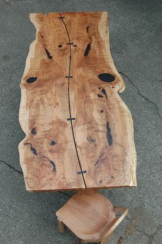 Live edge character gapped slab dining table