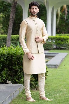 Buy Exquisite Silk Jacquard Kurta-Jacket Set with the Touch of Zardozi work - from a classic range of Nehru & Modi Jackets at Manyavar. Adorn a jacket from our collection to enhance your traditional wear & Kurta Pajamas. Wedding Kurta For Men, Wedding Dresses Men Indian, Wedding Dress Men, Wedding Outfits For Men, Mens Wedding Wear Indian, Engagement Dress For Men, Boys Wedding Suits, Punjabi Wedding, Indian Weddings