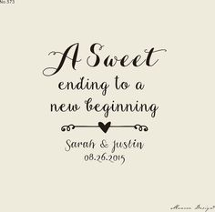 A Sweet Ending to a New Beginning  Custom wedding by mancoostamp