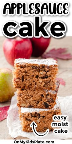 This super simple applesauce cake is delicious! Perfect for a cozy day, your family will love this easy and moist recipe. #applesaucecake #applerecipe #bakingwithapples Apple Recipes, Fall Recipes, Apple Walnut Cake Recipe, Zucchini Chocolate Chip Muffins, Bake Sale Recipes, Baking Recipes For Kids, Homemade Applesauce, Moist Cakes, Holiday Baking