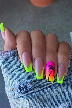 NAIL 45 cute and stylish summer nails for 2019 # summer # elegant # cute # nails # for Wedding Favou Bright Summer Acrylic Nails, Best Acrylic Nails, Acrylic Nail Designs, Summer Nails Neon, Pink Summer, Summer Holiday Nails, Summer Vacation Nails, Neon Nail Designs, Spring Nails