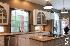 #white #transitional #kitchen #whitecabinets #greysubwaytile #industrialpendant #paintedcabinets #browngreyfloortile #S2D #ssquareddesign #htown #interiordesign #interiordesigner #kitchendesigner