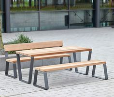 Benches with tables Street furniture Campus levis Westeifel Check it out on Architonic Iron Furniture, Street Furniture, Industrial Furniture, Garden Furniture, Furniture Design, Outdoor Furniture, Furniture Movers, Furniture Plans, Wood Steel