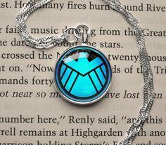 Avengers SHIELD symbol, S.H.I.E.L.D emblem inspired glass cabochon dome pendant necklace on Etsy, $14.20