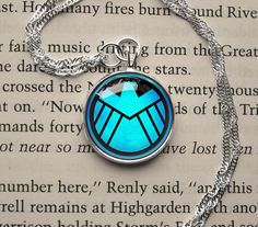 Avengers SHIELD symbol, S.H.I.E.L.D emblem inspired glass cabochon dome pendant necklace on Etsy, $14.20