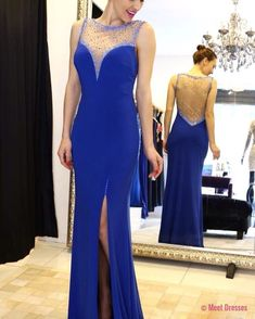 Sparkly Beaded Sheer Back Royal Blue Chiffon Prom Dresses Long Mermaid Evening Dresses Split Formal Gowns for Women PD20189908