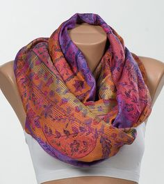 PURPLE and ORANGE. Spring Scarf or Shawl or Neck by scarfstore2012