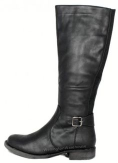 Manfield FLB661 Black Zip Knee High Boots Long Ladies Wide Elasticated Gusset