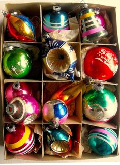 Vintage Christmas Ornaments SHINY BRITE BOX I Am Sooo Fortunate To Own Tons Of These As Handed Down Me Great Childhood Memories In Each One