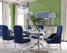 Light Drizzle chandelier from Ochre. Design: Ann Wolf. #dining room #green walls