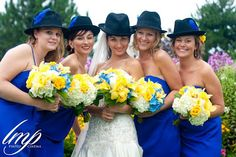 Beautiful bouquets in a yellow, blue and white colour scheme.  By Village Vines Floral and Event Decor.   www.villagevinesflorists.com