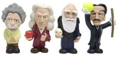 Little Giants vinyl toys by Jailbreak Collective,Scientists (Charles Darwin, Albert Einstein, Sir Isaac Newton and Nikola Tesla) Totally need these :D! Isaac Newton, Charles Darwin, Nikola Tesla, Tesla Inventions, Harriet The Spy, Theory Of Relativity, Little Giants, Science Party, Thanks