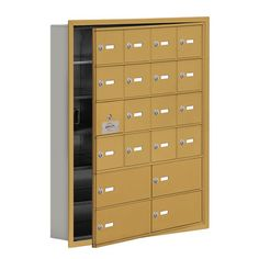 "Salsbury Industries 6 Tier 4 Wide Recessed Mounted Locker Size: 35.25"" H x 29.25"" W x 5.75"" D, Color: Gold"