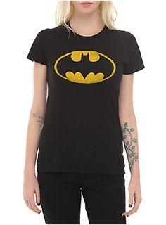 Fitted black tee from DC Comics with a classic yellow <I>Batman</I> logo design.<ul><li> 100% cotton</li><li>Wash cold; dry low</li><li>Imported</li><li>Listed in junior sizes</li></ul>