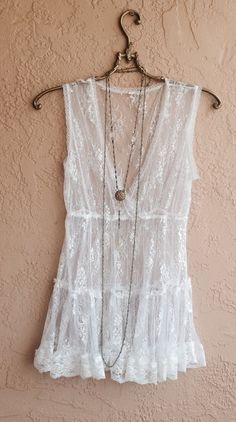 Vintage sheer slip Lace romantic camisole with ruffle layers coverup tunic lingerie on Etsy, $25.00