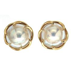 Blister Pearl Gold Claw Earrings | From a unique collection of vintage clip-on earrings at https://www.1stdibs.com/jewelry/earrings/clip-on-earrings/