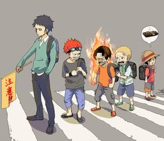 Trafalgar D. Water Law, Eustass Kid, Portgas D. Ace, Sabo, Monkey D. Luffy as kids One piece