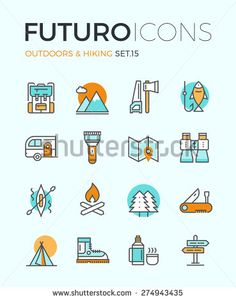 Line icons with flat design elements of camping equipment, hiking activity, outdoors adventure, mountain climbing, recreation tourism.  Modern vector logo pictogram collection infographic concept.  - Stock vector