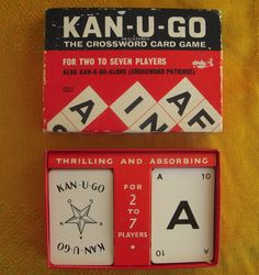 Vintage Kan-U-Go The Crossword Card Game with Rules - Kanugo