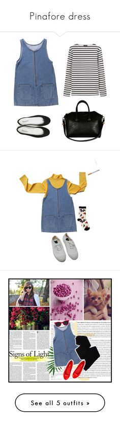 """""""Pinafore dress"""" by kupukupuwear on Polyvore featuring Mode, Repetto, Saint James, Givenchy, Oasis, Bensimon, Trasparenze, American Apparel, New Balance und red"""
