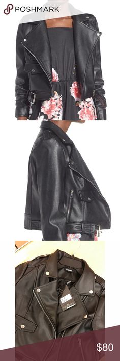 """Missguided Vegan Leather Motorcycle Jacket New with tags. A snap-down notched collar and angled front zipper add classic details to a moto jacket made from lightly textured faux leather. The biker-chic look serves as a fierce counterpart to more sweet and feminine base layers. - Notch collar - Long sleeves - Asymmetrical front-zip closure - Front flap-patch pockets - Buckle belt - 19"""" length Missguided Jackets & Coats"""