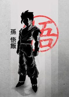 anime manga japanese japan cool red crimson gohan goku son saiyan super dbz dragon ball z black white font symbol