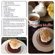 THM - FP - snickers muffin (FP frosting - 1/4 cup 0% Greek yogurt, 1 TB unsweetened almond milk, 1/2 tsp defatted peanut flour and sweetner Mix then sprinkle a couple crushed peanuts on top)
