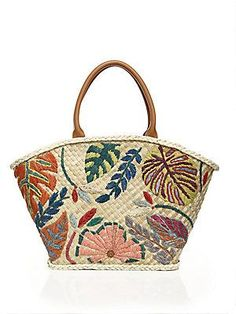 70caec88993b Tory Burch Leaf-Embroidered Straw Tote - Natural Straw Tote