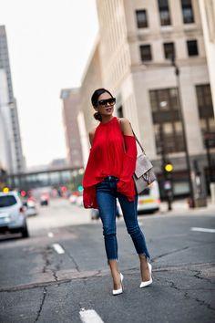 Minnesota fashion blogger wearing Style Mafia red op with pleats, Rag & Bone Step Hem jeans, Jules Smith Hoop Earrings, Chloe Faye bag, Celine sunglasses